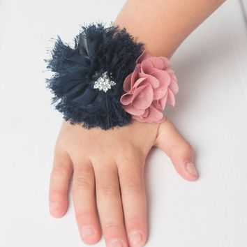 Navy & Mauve Wedding Corsage