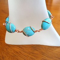 Copper Wire Wrapped Turquoise Bracelet