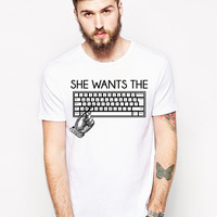 Funny Computer Shirt - She Wants The D - Computer Programmer - Computer Science - Computer Geek Shirt - Programmer Gift - Techie Gift