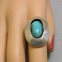 Vintage Native American Sterling and Turquoise Shadow Box Ring - Edit Listing - Etsy