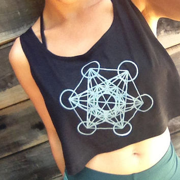Glow in the Dark Metatron's Cube Loose Crop Tank