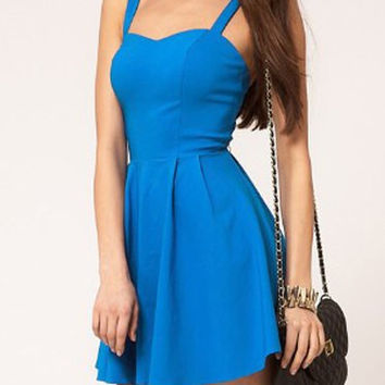 Blue Backless Skater Dress