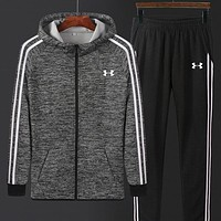 """Under Armour"" New Men Women Casual Print Hooded Zipper Top Sweater Pants Sweatpants Set Two-Piece Sportswear Grey I13688-1"