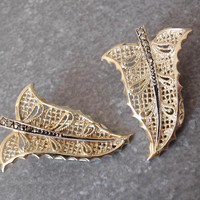 Gold Leaf Earrings Marcasites 835 Silver Vintage 032917BT