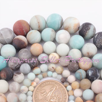 """4 6 8 10 12 14mm Natural Amazonite Round Frost Multicolor Gem Stone Beads For DIY Necklace Jewelry Making 15"""" Free Shipping"""