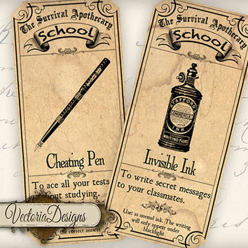 INSTANT DOWNLOAD Survive School Apothecary Labels printable gift tags digital Collage Sheet 380