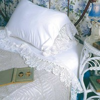 SWEET MILK MANOR BEDCLOTHES - White Crocheted Lace Sheets