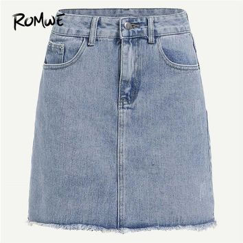 ROMWE Mini Skirt Women Bleach Wash Frayed Hem Denim Mid Waist Pencil Skirt Female Bodycon Skirts Womens Blue Jeans Skirt