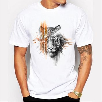 Hot Fashion Men tops personalized 3D graffiti tiger printing leisure simple short - sleeved T - shirt