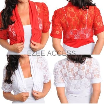 SeXY Women Plus Size Sheer Lace Shrug Bolero Top Blouse Jacket CoverUp Coat 1X3X