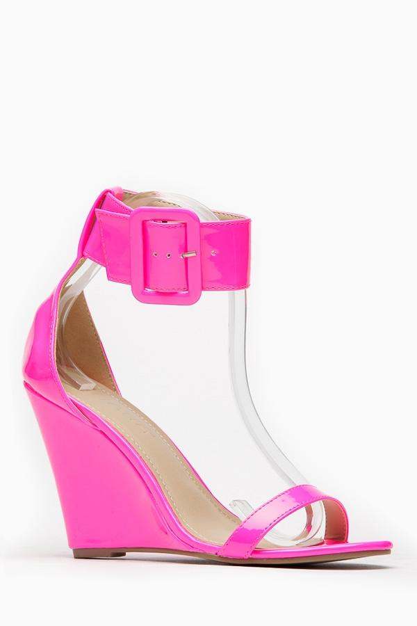 25c67595938 Liliana Neon Pink Single Sole Ankle Strap Wedge   Cicihot Wedges Shoes Store  Wedge Sho