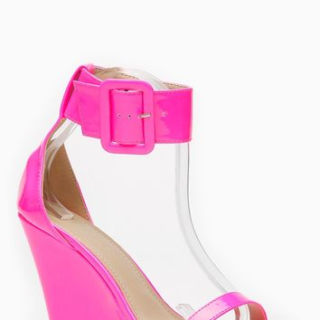 Liliana Neon Pink Single Sole Ankle Strap Wedge @ Cicihot Wedges Shoes Store:Wedge Shoes,Wedge Boots,Wedge Heels,Wedge Sandals,Dress Shoes,Summer Shoes,Spring Shoes,Prom Shoes,Women's Wedge Shoes,Wedge Platforms Shoes,floral wedges