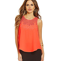 Gianni Bini Tammy Embroidered Blouse - Neon Peach