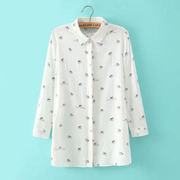 White Rabbit Pattern Print Button Long-Sleeve Collared Shirt