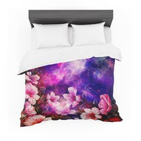 "Shirlei Patricia Muniz ""Space Flowers"" Pink Purple Featherweight Duvet Cover"