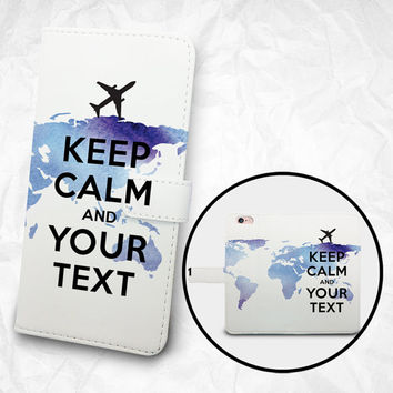 Customized Phone flip Wallet case - Keep Claim and Your Text - iPhone 6s Case iPhone 6 Case, Nexus 6, Samsung Galaxy S6 S5 S4, Note 5, 4, 3