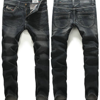 Mens Casual Black Slim Straight Jeans