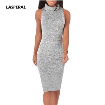 LASPERAL 2017 Autumn Knitted Tank Dress Retro Turtleneck Bodycon Sweater Dress Elegant Women Sexy Warm Party Dress Vestidos XL