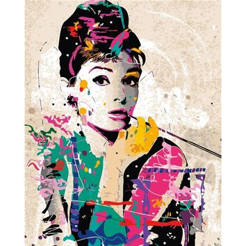 Painting By Numbers On Canvas Audrey Hepburn Modern Abstract Oil Painting