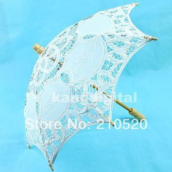 New Arrive Diameter 48 cm White Lace Parasol Umbrella For Wedding Decoration Diameter 48 cm