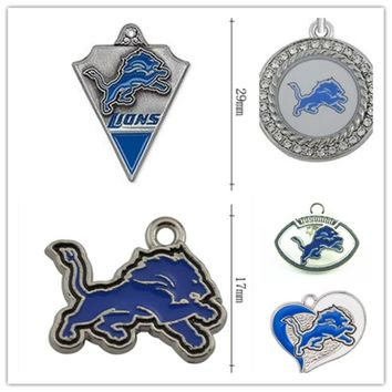 Mixed 6 Style Enamel Football Detroit Lions Team Logo Dangle Charms Fit DIY Bracelet&Necklace Pendant Jewelry 20pcs/lot