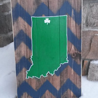 Indiana Wood State Sign, Notre Dame Wood Sign, Wood signs