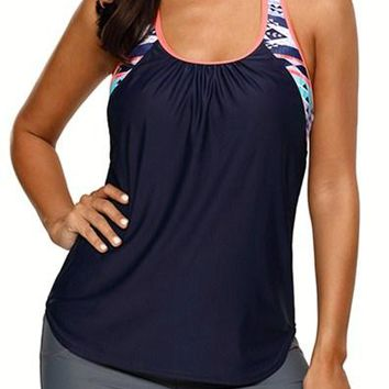 Navy Blouson Style Printed T-back Tankini Top
