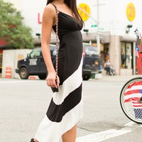Flamenco Fun Block Striped High Low Dress - Black from Glam at Lucky 21