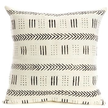 African White Mud Cloth Pillow