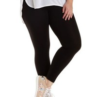 Plus Size Black Cotton Spandex Leggings by Charlotte Russe