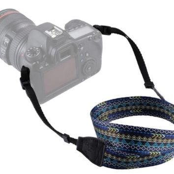 Blue And Green Bohemian Diamond Pattern Camera Strap Photographers Gift - CAST62