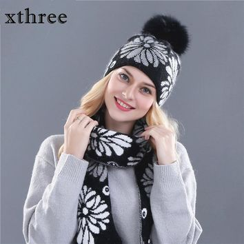 Xthree women's winter hat scarf  for girl beanie wool Knitted hat and 15 cm real fur pom pom
