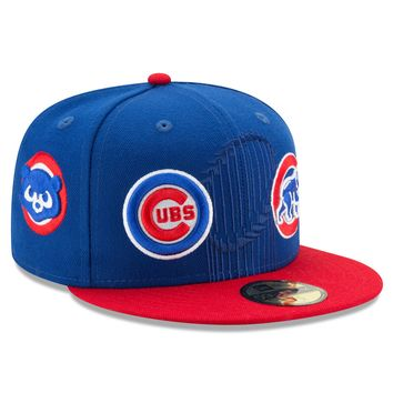 Chicago Cubs 3 Time World Series Champions Logos 59FIFTY Fitted Hat By New Era