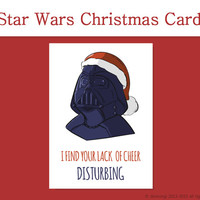Star Wars Christmas Card - I Find Your Lack of Cheer Disturbing, Funny Christmas Cards, Darth Vader Card, Pun Card - Instant Download