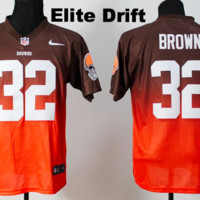 KUYOU Cleveland Browns Jersey - #32 Jim Brown Throwback Jersey