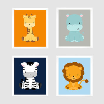 Safari Animals Wall Art, Set of 4 Nursery Art, Custom Prints Gray Navy Orange Blue Background Modern Art, Custom Colors, Nursery Decor, 8x10