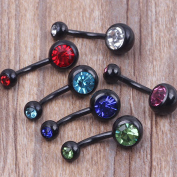 Mix 6 Colors Navel Nombril Piercing Body Jewelry Anodized Black Crystal Belly Bar Navel Bar Button Ring 100pcs/lot