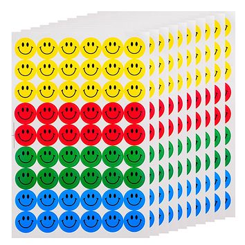 New Cute 540pcs Colourful Happy Round Smile Face Stickers Decal Kids Children Teacher Praise Merit Home office