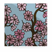 """Art Love Passion """"Cherry Blossom Day"""" Floral Illustration Luxe Square Panel"""