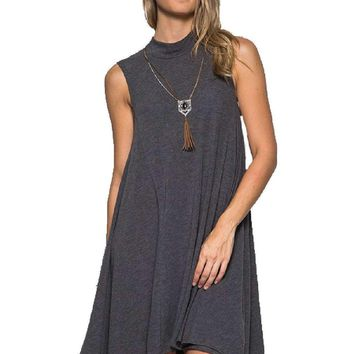 High Neck Swing Dress, Grey (size Small)