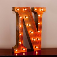 "24"" Letter N Lighted Vintage Marquee Letters with Screw-on Sockets"
