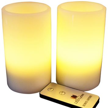Pillar Candles, Set of 2 Flameless Wax  with Pale Yellow Flame and Remote