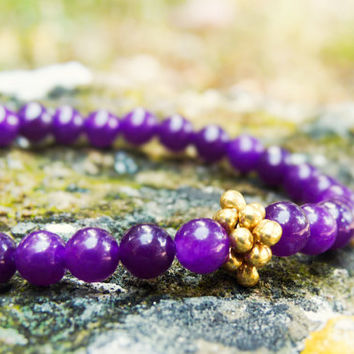 Purple gold bracelet, Bohemian stack bracelet, beaded bead gemstone stretch bracelet. Nature inspired jewelry