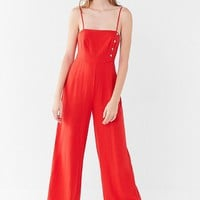 UO Straight-Neck Linen Button-Down Jumpsuit   Urban Outfitters