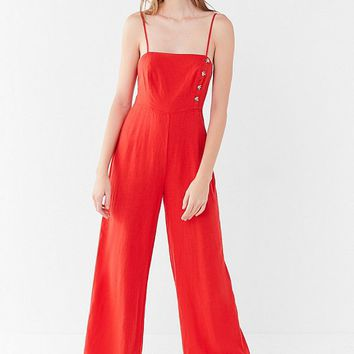 UO Straight-Neck Linen Button-Down Jumpsuit | Urban Outfitters