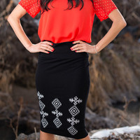 Embroidered Tribal Pencil Skirt - SexyModest Boutique
