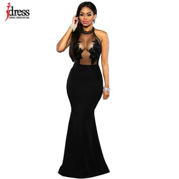 IDress 2016 New Maxi Dress Mesh Patchwork See Through Long Lace Dress 2016 Summer Style Elegant Long Maxi Evening Party Dress