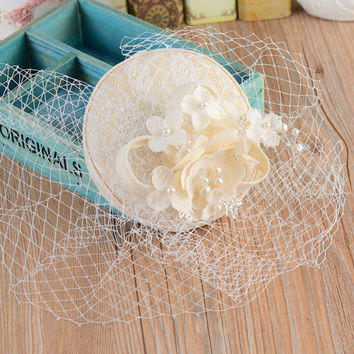 New Fashion 2016 Vintage Wedding Bridal Hats Linen Pearls Short Wedding Veil Face Hats Cheap Wedding Accessories In Stock