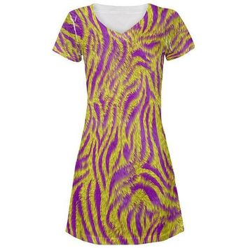 CREYCY8 Mardi Gras Cajun Tiger Costume All Over Juniors Beach Cover-Up Dress
