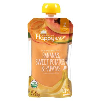 Happy Baby Pureed Baby Food Bananas Sweet Potatoes - 4oz